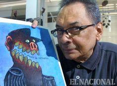 El caricaturista Pedro Leon Zapata, en una entrevista por  los 40 años de Zapatazos. 19-02-2005.   (Manuel Sardá  / El Nacional)