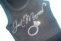 Just Married Large plantinum Diamond Ring Honeymoon Bride Crystal Rhinestone Bling Tank Top Shirt