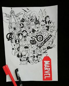 doodle marvel easy drawings drawing avengers doodles simple cool mandala canvas sketches cartoon quotes