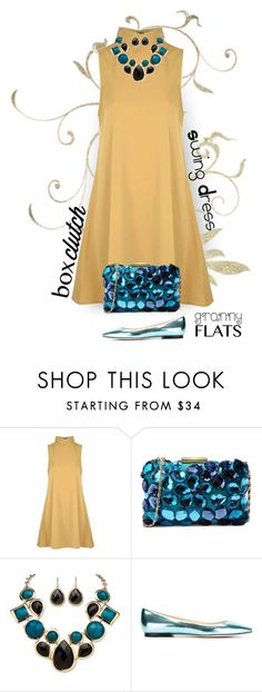 """""""BeJeweled"""" by patricia-dimmick on Polyvore featuring Glamorous, Love Moschino, Palm Beach Jewelry, Jimmy Choo, BOXCLUTCH, swingdress and grannyflats"""