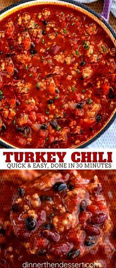 #dinnerthendessert #groundturkey #turkeychili #turkeysoup #seasoning #tomatoes #de... Ground Turkey Chili, Ground Turkey Recipes, Tomatoes, Dinner Recipes, Soup, Easy, Healthy, Turkey Mince Chilli, Soups