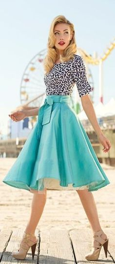 #street #style #spring #fashion #inspiration |BW animal print blouse + teal flare midi skirt