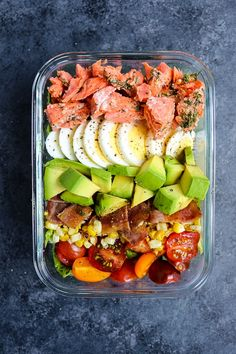 May 2019 - This Salmon Cobb Salad Recipe will be your new favorite way to enjoy a healthy lunch! Made with grilled salmon, avocados, hard-boiled eggs and more, this Grilled Salmon Salad is the perfect meal prep salad idea! Lunch Meal Prep, Easy Meal Prep, Healthy Meal Prep, Meal Prep Salmon, Salmon Meals, Salad Recipes For Dinner, Healthy Salad Recipes, Dessert Recipes, Nutritious Snacks