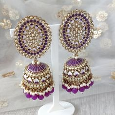 Jhumki Earrings, Dangle Earrings, Crochet Earrings, Silver Paint, Purple Gold, Dangles, Jewelry, Fashion, Moda