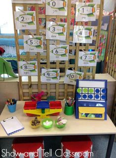 Maths provocation to investigate heaviest and lightest, making combinations to 10. Image credit Rob n Jules