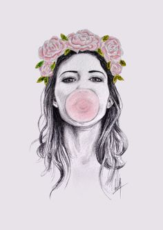 A3 signed art print Bubblegum by DesignsbyLibbyW on Etsy, £30.00