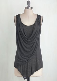 Draped in Delight Top in Charcoal | Mod Retro Vintage Short Sleeve Shirts | ModCloth.com (Large)