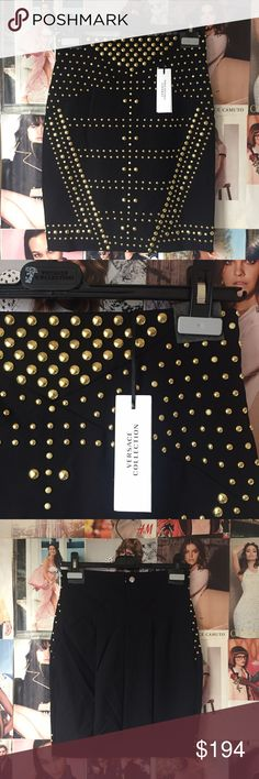 ❤️️SALE❤️️ Versace Collection + studded skirt Flashy in the classiest way--just a bit of that Italian love of drama!! This black and gold pencil skirt is extraordinarily well constructed, just what you would expect from one of the world's top designers. Hidden back zip. Versace hanger included. NWT. Versace Skirts Mini