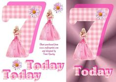 A pretty card for a little girl turning 7, is pink and has a barbie doll on the front.  Fits A5 envelope when finished