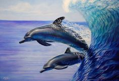 Dolphins Surf Oil painting Melody Owens