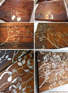 Stencil Wood Wall Art Pieces! Love the metallic foliage on rustic pallet combination.