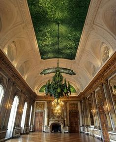 Heaven of Delight. 2002. Hall of Mirrors, Royal Palace, Brussels. Wing cases of jewel scarab beetles (buprestids) pave the ceiling and chandelier. Jan Fabre