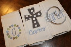 Set of three monogrammed appliqued by annabeesdesign on Etsy, $24.50 - love the grey cross!