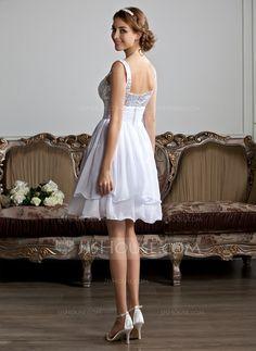 A-Line/Princess Sweetheart Knee-Length Chiffon Sequined Homecoming Dress With Ruffle (022010318)