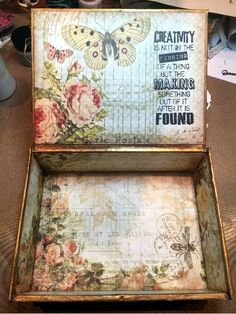 CREATIVITY IS CONTAGIOUS: APRIL'S ART ADVENTURE ~ AN ALTERED CIGAR BOX FOR CREATIVE CARTE BLANCHE                                                                                                                                                      More