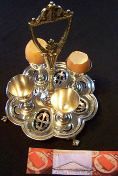 Search by seller -- FineThings4sale -- RARE EDWARDIAN AGE SHEFFIELD SILVER EXTRA FANCY EGG CRUET SET WITH FOUR EGG CUPS