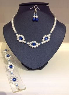 White glass pearls with a splash of blue
