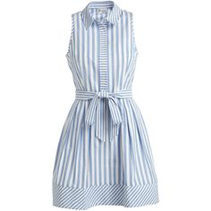 Milly Breton Sleeveless Striped Shirtdress ($410) ❤ liked on Polyvore featuring dresses, blue pleated dress, a line shirt dress, button front dress, blue a line dress and blue sleeveless dress