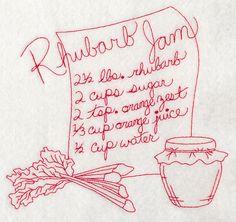 Rhubarb Jam (Redwork) design (J9916) from www.Emblibrary.com