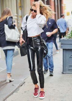 Vinyl black pants outfit