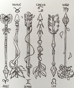 Zodiac Arrows ✨ (important note: I uploaded these on my instagram and people are sending me DMs asking to use the arrows as tattoos. You have my permission to get any of them as a tattoo and I would love to see a picture!)
