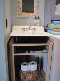 Wood Stand Utility Sink with Kohler Black and White Trough Sink - Laundry Sink