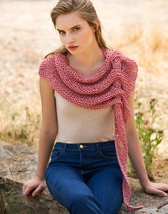 Book Woman Sport 92 Spring / Summer   24: Woman Shawl   Dark rose Lace Knitting, Knitting Stitches, Knitting Designs, Crochet Blouse, Crochet Shawl, Knit Crochet, Pull Crochet, Tunisian Crochet, Knitted Shawls