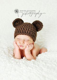 Newborn Baby Boy Hat Girl Bear Hat Photography Prop Crochet Knit Boy Girl Baby Photo Prop Chunky Chocolate Bear Hat Ready to ship. $17.99, via Etsy.
