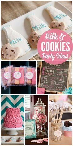 A Milk and Cookies girl birthday party with a cookie bar, wafer cookie favors and fun games!  See more party planning ideas at CatchMyParty.com!