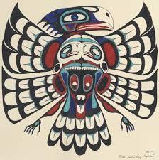 (usa) Native American thunderbird with bear. Native American Drawing, Native American Symbols, Native American Design, American Indian Art, Native American Indians, American History, Native American Totem Poles, American Women, Haida Kunst