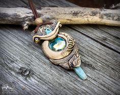 Chakra pendant Aquamarine elvish pendant Turquoise clay necklace Bohemian turquoise pendant Gypsy clay necklace Ancient clay Shaman pendant