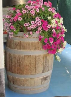 Related post barrel planters for sale oak wine planter the redwood store 2 wooden whiskey flower wine barrel planter wooden barrel flower planters, Wine Barrel Garden, Whiskey Barrel Planter, Barrel Garden Planters, Flower Planters, Flower Pots, Barrel Flowers, Planters For Sale, Barrel Furniture, Porch Decorating