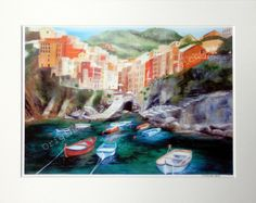 Riomaggiore Giclee Print- A4 Quality Mounted Giclee Print of Riomaggiore - by Artist Suzie Nichols (art, painting italy) - pinned by pin4etsy.com