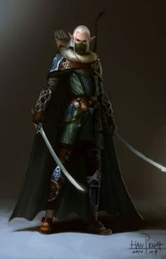 Male elf ranger with swords Elf Warrior, Fantasy Warrior, Elfen Fantasy, Fantasy Male, Fantasy Rpg, Medieval Fantasy, Dungeons And Dragons Characters, Dnd Characters, Elf Hunter