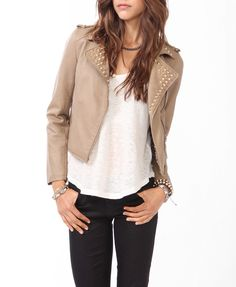Spiked Collar Moto Jacket #f21outerwear