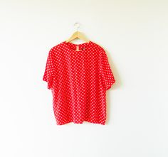 Bright Polka Dot Vintage Blouse / Red and White Dots Vintage Top / Slouchy Vintage Blouse by thehappyforest on Etsy