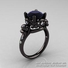Modern Vintage 14K Black Gold 3.0 Ct Black and White by artmasters, $2,559.00