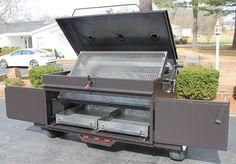 Charcoal & Wood Pig Cooker Custom Bbq Smokers, Custom Bbq Pits, Barbecue Smoker, Bbq Grill, Smoker Cooker, Smoker Designs, Outdoor Smoker, Bbq Smoker Trailer, Wood Pig