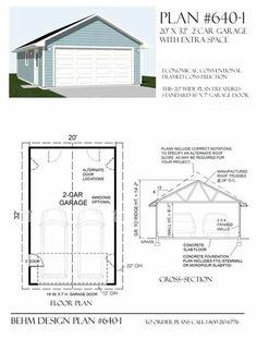Two Car Garage Plan 640-1 20' x 32' by Behm Design