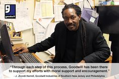 """Read about the experience of J. Jhondi Harrell, Goodwill Industries International's 2013 Kenneth Shaw Graduate of the Year, who received job training and placement services at @GoodwillNJ : """"Through each step of this process, Goodwill has been there to support my efforts with moral support and encouragement."""""""