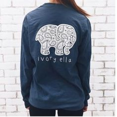 231192aceefeb Ivory Ella Tops - Ivory Ella blue long sleeve tee 3 Cartoon Elephant