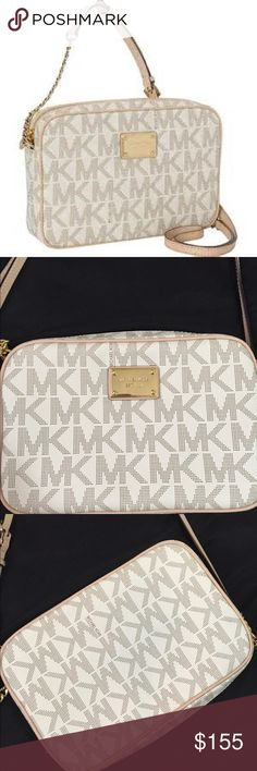 Michael Kors Jet Set Large Crossbody New! Comes with tag and MK card. Authentic. -shoulder strap/crossbody -9x6x2 -fully lined color-vanilla -gold hardware NO TRADES/PP MICHAEL Michael Kors Bags Crossbody Bags