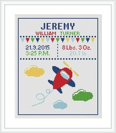 Airplane Cross Stitch Pattern for baby Birth announcement Baby