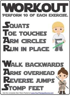 Star Wars Workout freebie from the Star Wars Sensory Motor Packet - Fine Motor, Gross Motor, and Visual Perceptual Activities with a Star Wars Theme Gross Motor Activities, Learning Activities, Kids Learning, Sensory Motor, Physical Activities For Kids, Space Activities, Yoga For Kids, Exercise For Kids, Kid Yoga