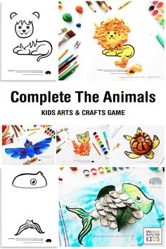 A fun craft activity idea where kids exercise their creativity and problem-solving skills by coming up with different ways to finish the craft of different animals. Free printable included (link at the bottom of the Fun Crafts, Crafts For Kids, Arts And Crafts, Craft Activities For Kids, Projects For Kids, Art Projects, Animal Coloring Pages, Coloring Books, Animal Games