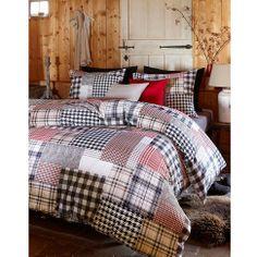 Bettwäsche in schwarz-rot-beige kariert in Patchworkoptik von Beddinghouse --> kaufen bei Impressionen.de