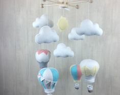 littleHooters custom nursery mobiles - hot air balloon mobile - nursery decor - nursery mobile - baby mobile - available on Etsy