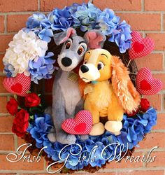 Lady and the Tramp Valentines Wreath, That's Amore' , Disney Wreath, Dog Wreath, plush Hearts