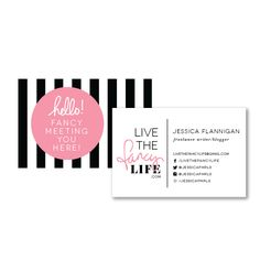 I like this business card because I think the circle is with lettering looks really good against the black stripes. I also like how well organized the back is.