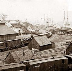 City Point, Virginia. Railroad yard and transports. It was created between 1861 and 1865.